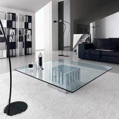 Table de salon Scacco avec base en marbre blanc Carrara