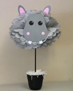 Hippo Hippopotamus pom pom kit jungle by TheLittlePartyShopNY