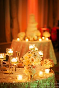 Sweetheart table with cake table