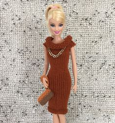 Knitted Scoop Neck Dress for Barbie, Fits Classic, Tall