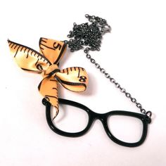 Nerds Rule Necklace  Gunmetal Black  Glasses by creativityismessy, $15.00