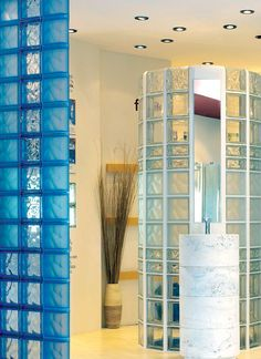 Glass block walls with various patterned and blue and clear colored glass blocks Glass Block Shower, Glass Blocks Wall, Christmas Wood Crafts, Christmas Signs, Wood Craft Patterns, Glass Brick, Glass Texture, Glass Design, Contemporary Interior