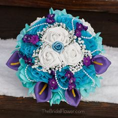Large round bridal wedding bouquet in purple, aqua teal (tiffany blue) and turquoise with callas and pearls on Etsy, $164.22 AUD