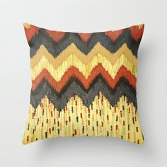 SHINE ON - Gold Glam Chevron Colorful Abstract Acrylic Pattern Painting Modern Home Decor Fine Art Throw Pillow by EbiEmporium - $20.00