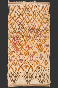 TM 1947, very rare cream-white ground Ait bou Ichaouen pile rug, eastern High Atlas, Morocco, ca. 1970, ca. 345 x 170 cm (11' 4'' x 5' 8''), p.o.a.
