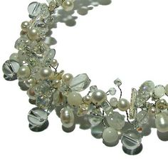 Pearl and Crystals Bridal Necklace bold bridal necklace by Nanda