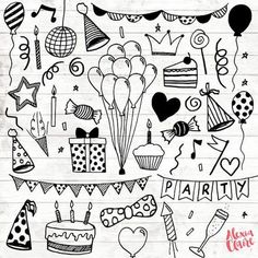 Party Clipart - 30 Hand Drawn Party Invite Cliparts - Logo Art - Party Invitation Elements - Balloons Illustration - 76 - Get some adorable hand drawn birthday party clipart clipart, perfect for logos, invitations, birthd -Birthday Party Clipart - 30 H. Birthday Party Clipart, Happy Birthday Cards, Diy Birthday, Card Birthday, Birthday Greetings, Birthday Ideas, Birthday Balloons, Clipart Party, Happy Birthday Doodles