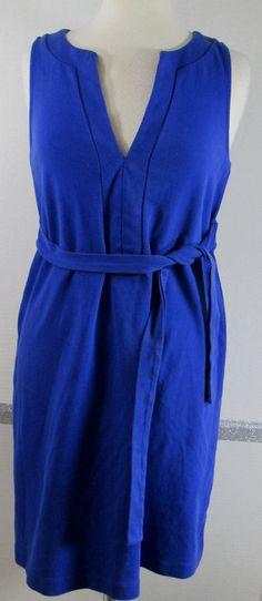 J.Crew Dress Medium Royal Blue 100% Cotton Y Neckline Sash tie Attached Belt GUC #JCREW #Sheath #Casual