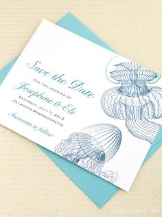 Floating Jellyfish Save the Date  Sample by ConcertinaPress, $1.99 #beach #wedding #destination #tropical