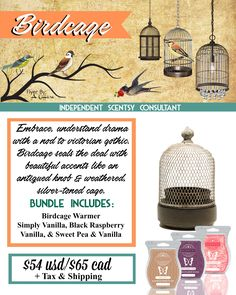Birdcage Bundle - $54, comes with Birdcage warmer and your choice of 3 Scentsy Bars. Order today at www.smellarific.com. Flyer By: Angela O'Hare