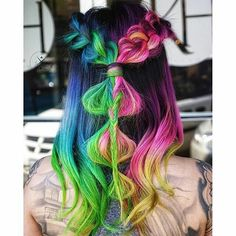 rainbow festival hair and braids