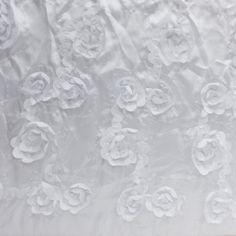 Petal Blossom Sequin Taffeta White 58 Inch Fabric by the yard, 1 yard