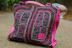 Discover unique handmade leather handbags, purses, messenger bags, backpacks and more on Seal of zAz. A perfect blend of leather and multi-coloured Mola for a one of a kind bag. Leather Handbags, Leather Bags, Unique Bags, Diaper Bag, Seal, Backpacks, Throw Pillows, Purses, Messenger Bags