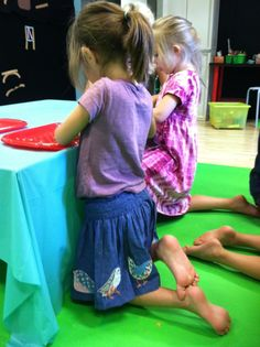 Kneeling during table work - great way to develop core strength without the kids even knowing!