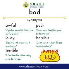 How do you say 'bad'? #ShaneEnglishSchool #ShaneEnglish #ShaneSchools #English #Englishclass #Englishlesson #Englishfun #Englishisfun #language #languagelearning #education #educational #word #words #wordoftheday #vocabulary #vocab #synonym #differentwords