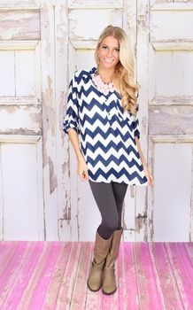 Bold chevron button up top, perfect with leggings and a chunky necklace