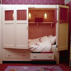 tween girl bedroom idea for hideaway bed with hinged doors for gruntman gruntman H .this would be sooo cool for my bed room sence I am 11 Awesome Bedrooms, Cool Rooms, My New Room, My Room, Sleeping Nook, Hideaway Bed, Hidden Bed, Furniture For Small Spaces, Little Girl Rooms