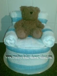 homemade diaper cake chair craft with blue accents (s)