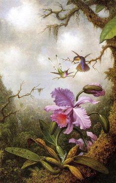 Martin Johnson Heade  (1819-1904) | Orchid and humming birds