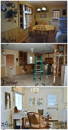 Host & Host Home Tour: Breakfast Nook/Sitting Area This 1951 ranch kitchen was unloved and outdated. See how it was transformed and a tired table inspired a cozy sitting area. www.huntandhost.com