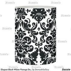 Elegant Black White Vintage Damask Pattern Flameless Candle