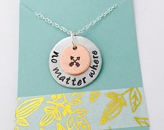 SALE no matter where necklace hand stamped necklace compass