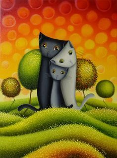 Gatos by Gabriele Elgaafary I Love Cats, Crazy Cats, Cute Cats, Adorable Kittens, Gatos Cats, Illustration Art, Illustrations, Family Illustration, Naive Art
