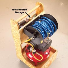 Effortlessly wheel your air compressor where it's needed. No need for second trips to fetch hoses, tools and fasteners, they are all self contained in this Garage Workshop Organization, Garage Tool Storage, Workshop Storage, Diy Workshop, Garage Tools, Garage Shop, Organizing Tools, Workshop Plans, Garage Plans