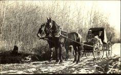 Horse Drawn Wagon Husband & Wife c1910 Real Photo Postcard