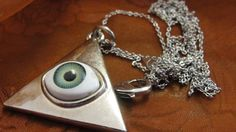 Tiangle Eye on 30 inch Silver Tone Chain Necklace #Chain