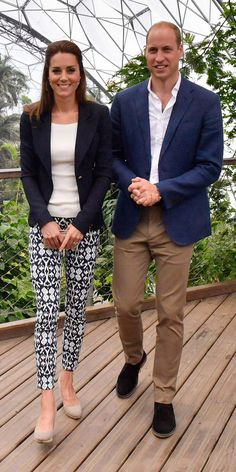 The Duchess of Cambridge went casual on her second day in Cornwall, donning printed Gap trousers, a pair of nude L.K. Bennett wedges, a fitted navy Smythe blazer, and a white crewneck top for a visit to the Eden Project.
