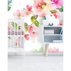 Items similar to Removable Wallpaper Mural Peel & Stick Nursery Wallpaper Self Adhesive Wallpaper Spring Floral Watercolor on White Background on Etsy Nursery Wallpaper, Wallpaper Roll, Peel And Stick Wallpaper, Wallpaper Murals, Wall Murals, Wall Art, Arte Floral, Floral Wall, Safari Nursery