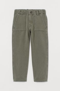 Twill cargo trousers - Khaki green - Kids | H&M GB 2 Khaki Green, Fashion Company, Cargo Pants, Workout Pants, World Of Fashion, Toddler Boys, Online Price, Bermuda Shorts, Personal Style