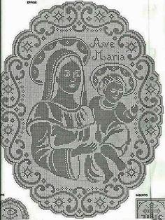 Maida Crochês: Toalha Oval de Nossa Senhora com o Menino Jesus