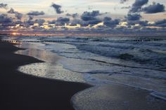 sunset, sea, sky, clouds, cloudy, waves, sand, beach, travel, summer, holidays