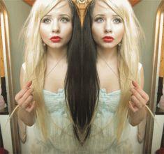Two-Tone Hair Color Ideas for 2017 Half Dyed Hair, Half And Half Hair, Split Dyed Hair, Dye My Hair, Love Hair, Great Hair, Corset, Creative Hair Color, Rockabilly Hair