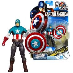 """Hasbro Year 2011 Marvel Studios """"Captain America The First Avenger"""" 4 Inch Tall Action Figure - Comic Series ULTIMATES CAPTAIN AMERICA with Dual Blade Shield"""