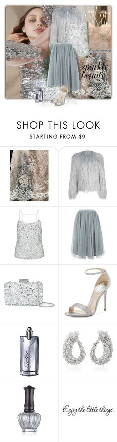 """Sparkly Beauty"" by loveroses123 ❤ liked on Polyvore featuring Somewhere Nowhere, WithChic, Miss Selfridge, Lace & Beads, Oscar de la Renta, René Caovilla, Cartier, Yeprem and Anna Sui"