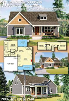 Architectural Designs Exclusive Craftsman Cottage House Plan gives you 3 beds, 2 full and 1 half bath and over sq. of heated living space! Craftsman Cottage, Cottage House Plans, Craftsman House Plans, New House Plans, Small House Plans, Cottage Homes, House Floor Plans, Bungalow House Plans, The Fresh