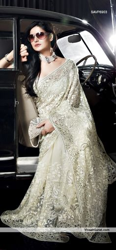White/Silver sari ideal for wedding reception. (Great Bollywood look).