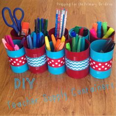 Finished DIY Teacher Supply Containers - spray paint cans, add pretty ribbon, hot glue the cans together, and voila!  #classroomorganization #DIY {Prepping for the Primary Gridiron}