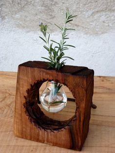 SALE Reclaimed walnut vase Wooden vase Made of by WoodRestart