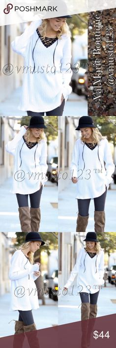 WHITE RIBBED LACE UP LOOSE SWEATER  MADE IN USA- PREMIUM COLLECTION! This STUNNING sweater features everyone's favorite ribbed sweater all over with black lace up front. This sweater is not too heavy and not too light, it's simply perfect. Slightly oversized so you can wear with leggings and boots. Perfect this time of year and even to transition to spring. Poly/spandex blend. Recommended sizes: S(4) M(6-8) L (10-12) - Large could fit up to a 14, just won't fit as baggy/loose fitting. Price…