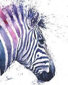 ZEBRA ART PRINT - zèbre aquarelle peinture, abstrait imprimé zèbre, décor zèbre, aquarelle art animalier, peinture animalière