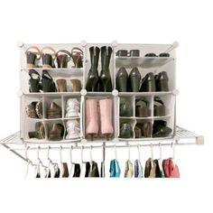 Luxury Living Modular Shoe Organizer in Clear/White - BedBathandBeyond.com