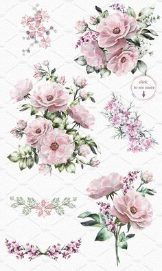 Watercolor floral design set. Flower by Lisima on @creativemarket