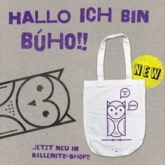 Stofftasche weiss – Eule - Ballenito – Apparel & Artwork Reusable Tote Bags, Screen Printing Process, White Owls, Blue, Bags
