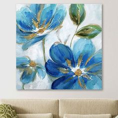 This stunning Flowering Blues II Giclee Canvas Art Print will make a statement in any room! The vibrant hues of blue will brighten up any home beautifully. Easy Flower Painting, Simple Oil Painting, Acrylic Painting Flowers, Acrylic Art, Diy Painting, Watercolor Flowers, Flower Art, Flowers On Canvas, Flower Paintings On Canvas