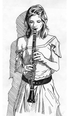 A girl playing clarinet