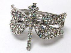 Crystal large metal fashion DRAGONFLY bangle bracelet! FREE SHIPPING PHOTON GIFT